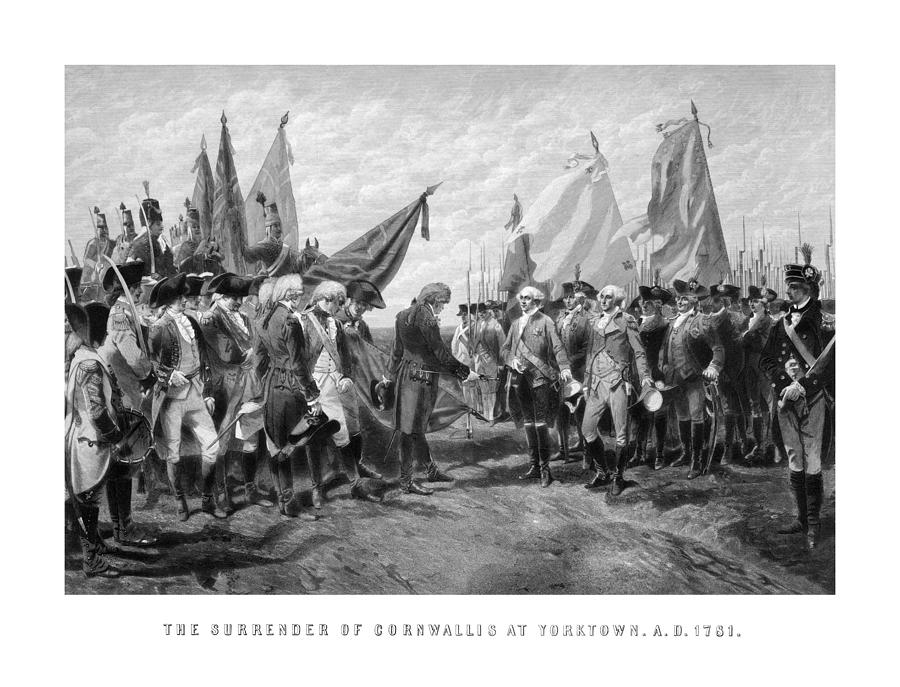 George Washington Drawing - The Surrender Of Cornwallis At Yorktown by War Is Hell Store