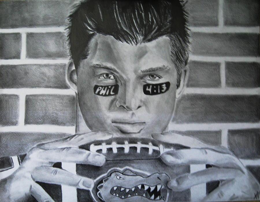 Tim Tebow Florida Gators Denver Broncos Football Quarterback Drawing - The Swamp by Jenna McMullins