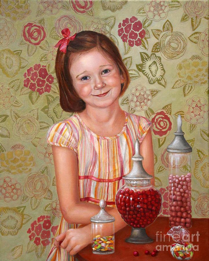Children Portrait Painting - The Sweet Sneak by Enzie Shahmiri