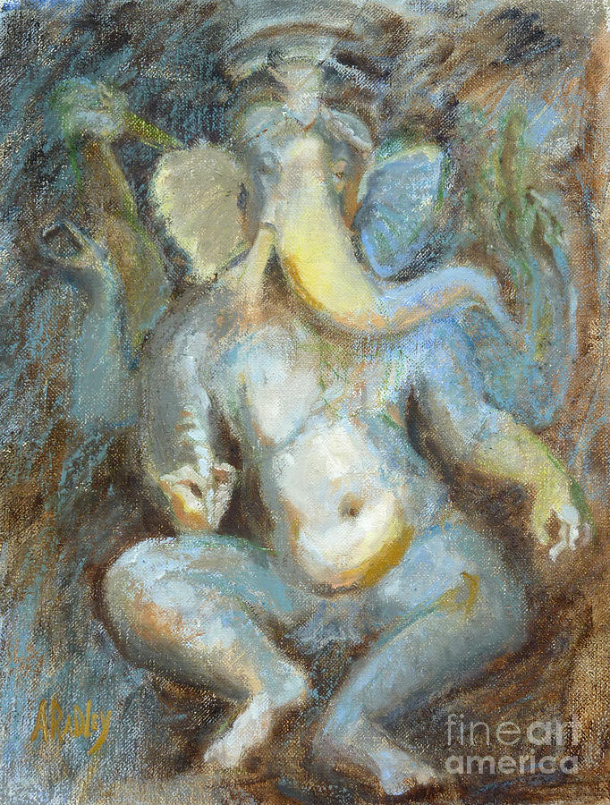 Ganesh Ganesha Elephant God Temple Of Love Hindu Diety Sculpture Khajuraho India Indian Worship Remover Of Obstacles  Mudras Divine Dancing Ganapati Lord Ganesha Sri Ganesha Hindu Temple Painting - The Temple Of Love Ganesh by Ann Radley