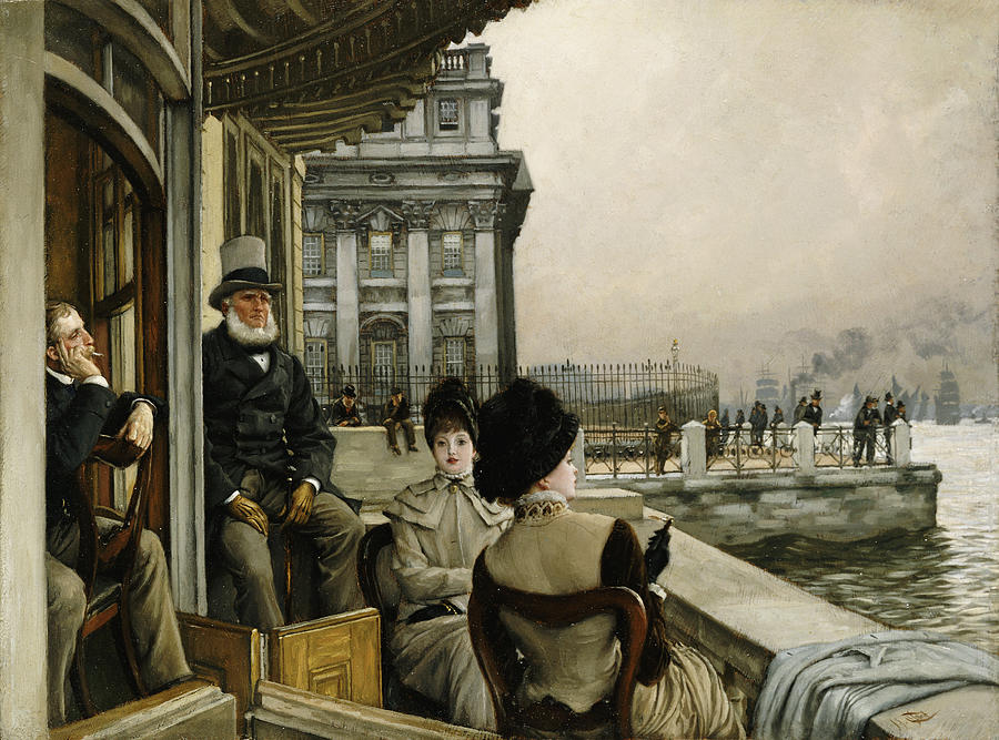 Portrait Painting - The Terrace Of The Trafalgar Tavern Greenwich by James Jacques Joseph Tissot