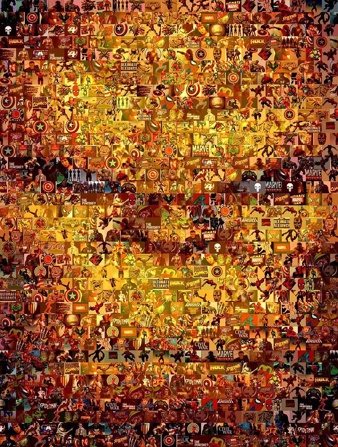 Marvel Painting - The Thing Mosaic by Paul Van Scott