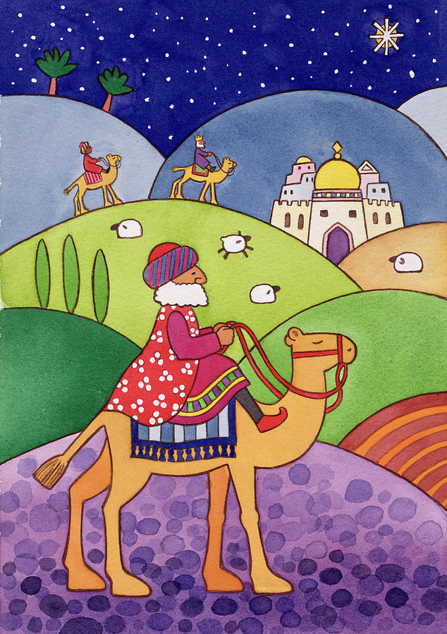 Camel; Sheep; Star; City Painting - The Three Kings by Cathy Baxter