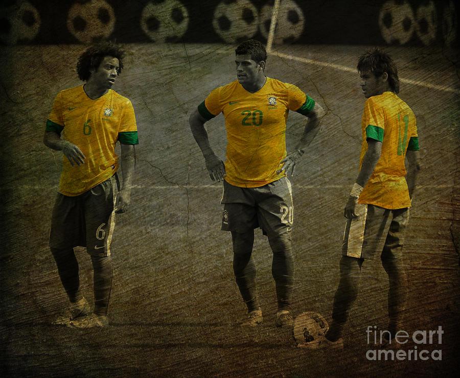 Marcelo Vieira Da Silva Junior Photograph - The Three Kings Marcelo Hulk Neymar Os Tres Reis  by Lee Dos Santos
