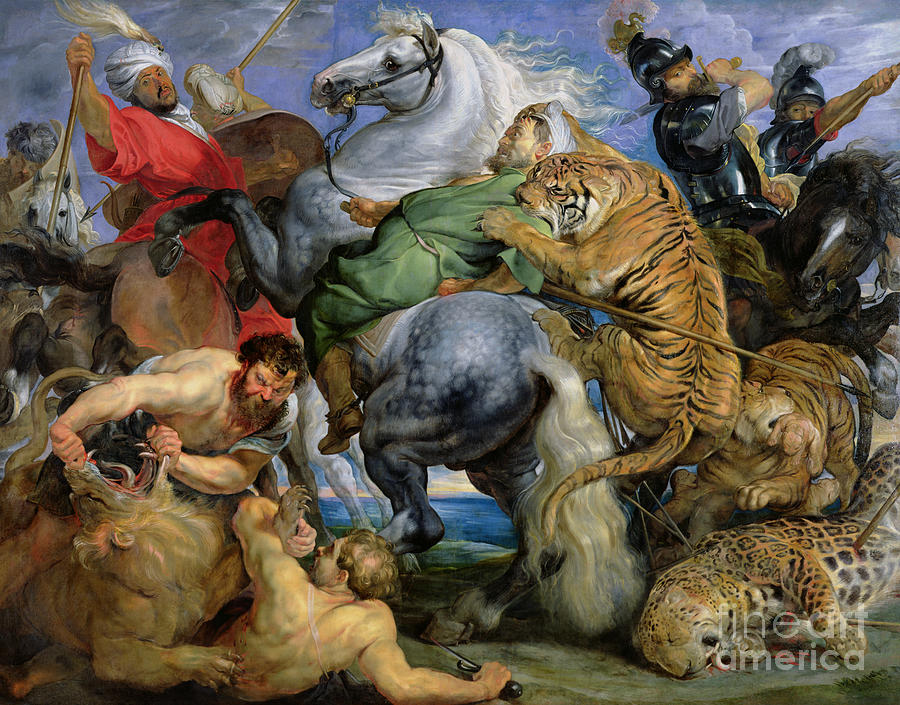 The Painting - The Tiger Hunt by Rubens