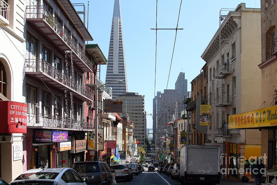 San Francisco Photograph - The Transamerica Pyramid Through Chinatown San Francisco by Wingsdomain Art and Photography