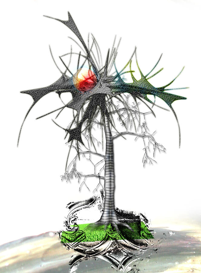 Abstract Digital Art - The Trouble Tree by Aniko Hencz