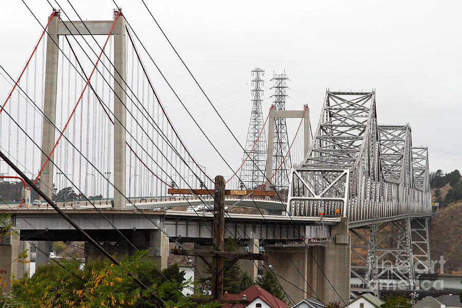 The Two Carquinez Bridges At Crockett And Vallejo California . Aka Alfred Zampa Memorial Bridge . 7d8919 Photograph