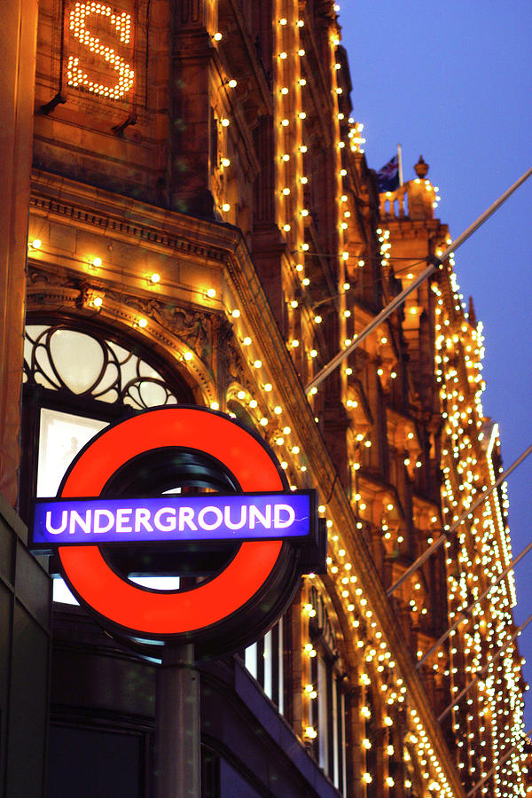Harrods Photograph - The Underground And Harrods At Night by Heidi Hermes