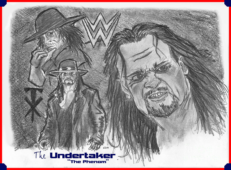 Wwf Drawing - The Undertaker by Chris  DelVecchio