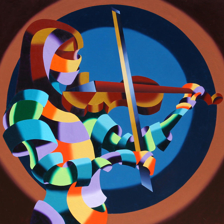 Abstract Figurative Painting - The Violinist by Mark Webster