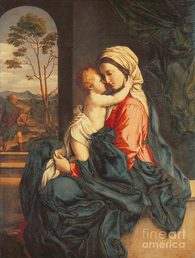 The Painting - The Virgin And Child Embracing by Giovanni Battista Salvi