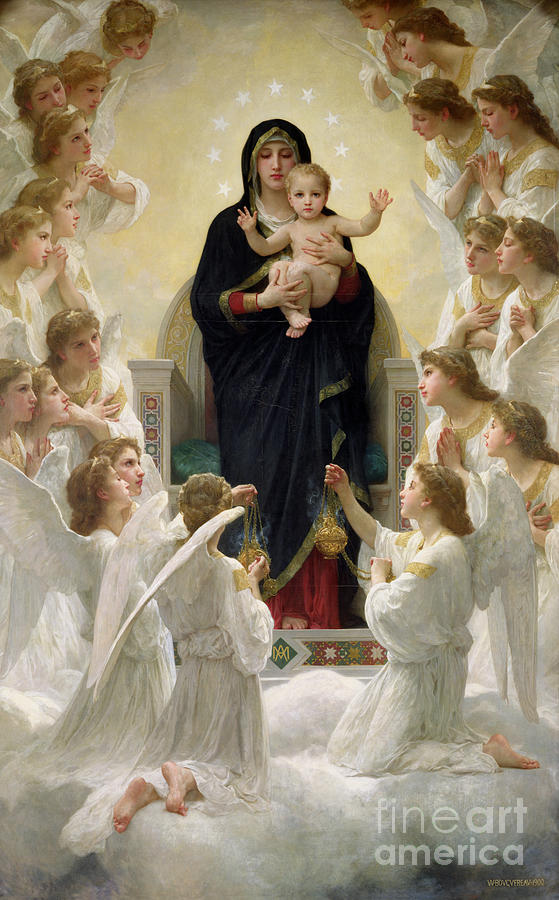 The Painting - The Virgin With Angels by William-Adolphe Bouguereau