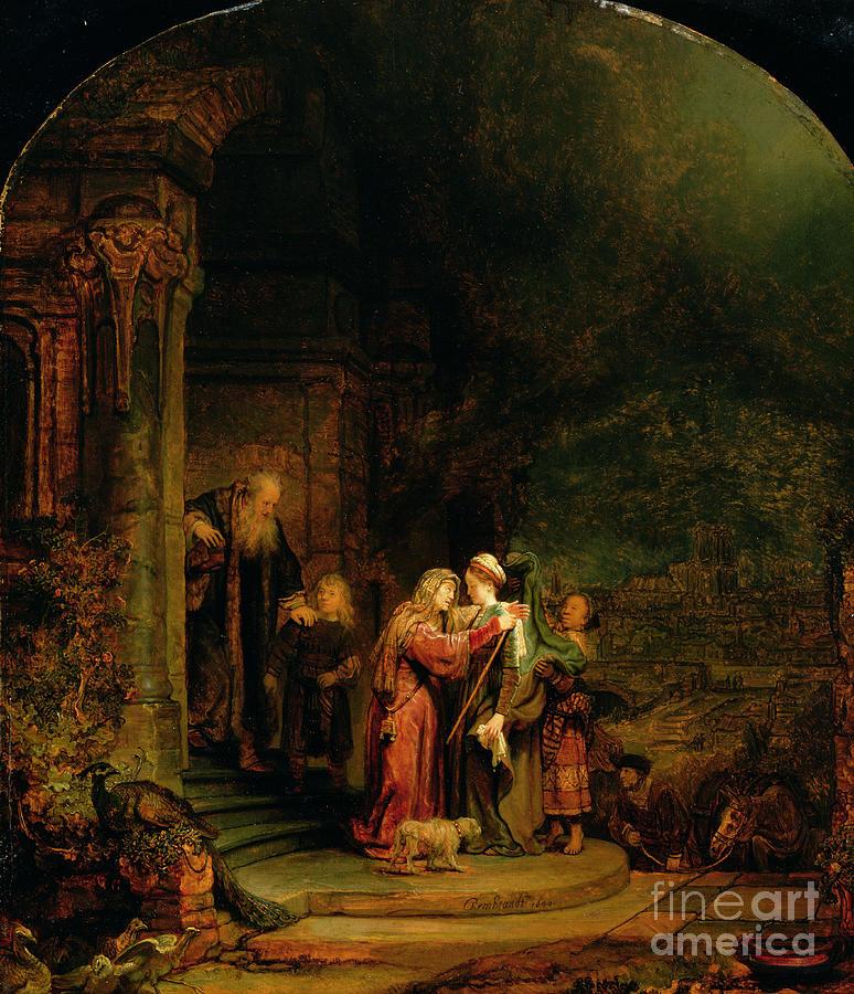 The Painting - The Visitation by  Rembrandt Harmensz van Rijn