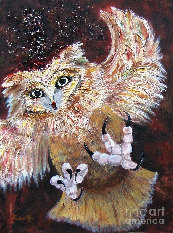 Owl Painting - The Warning by Pauline Ross
