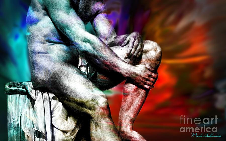 Male Nude Art Painting - The Watching Man   by Mark Ashkenazi