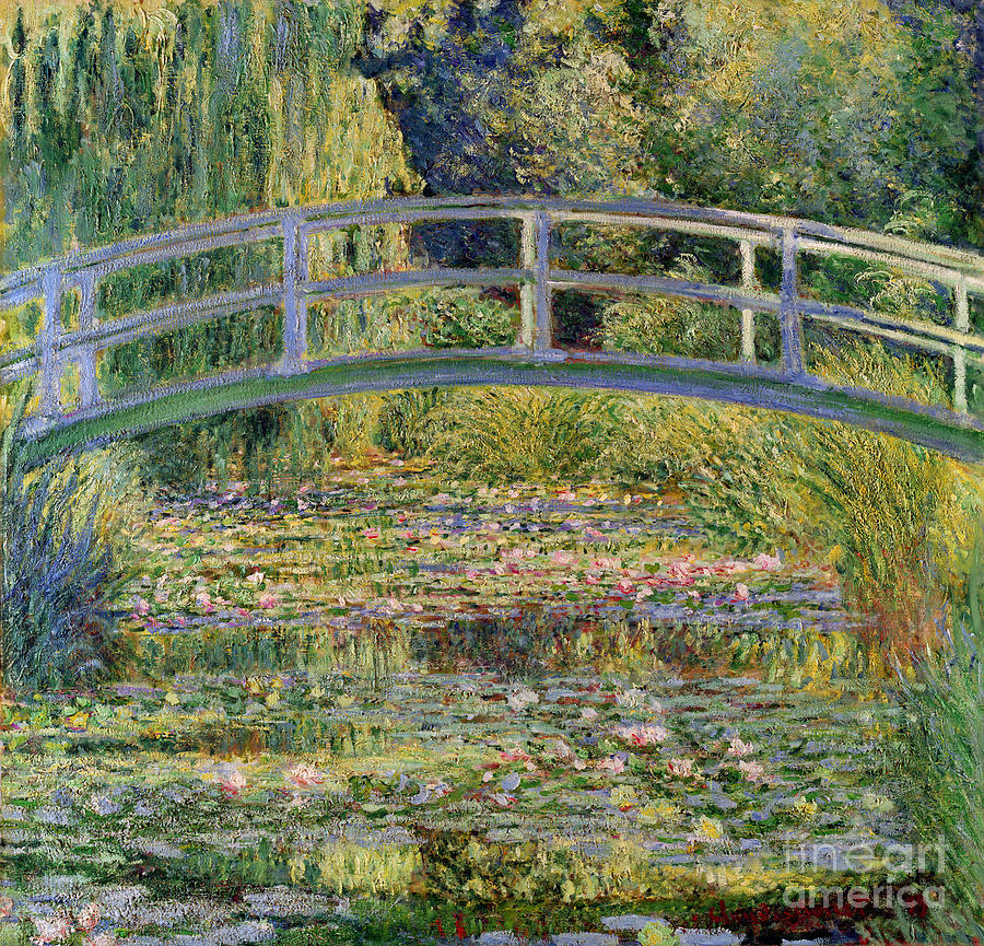 The Painting - The Waterlily Pond With The Japanese Bridge by Claude Monet