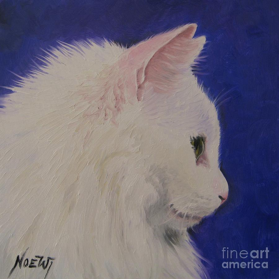 Noewi Painting - The White Cat by Jindra Noewi