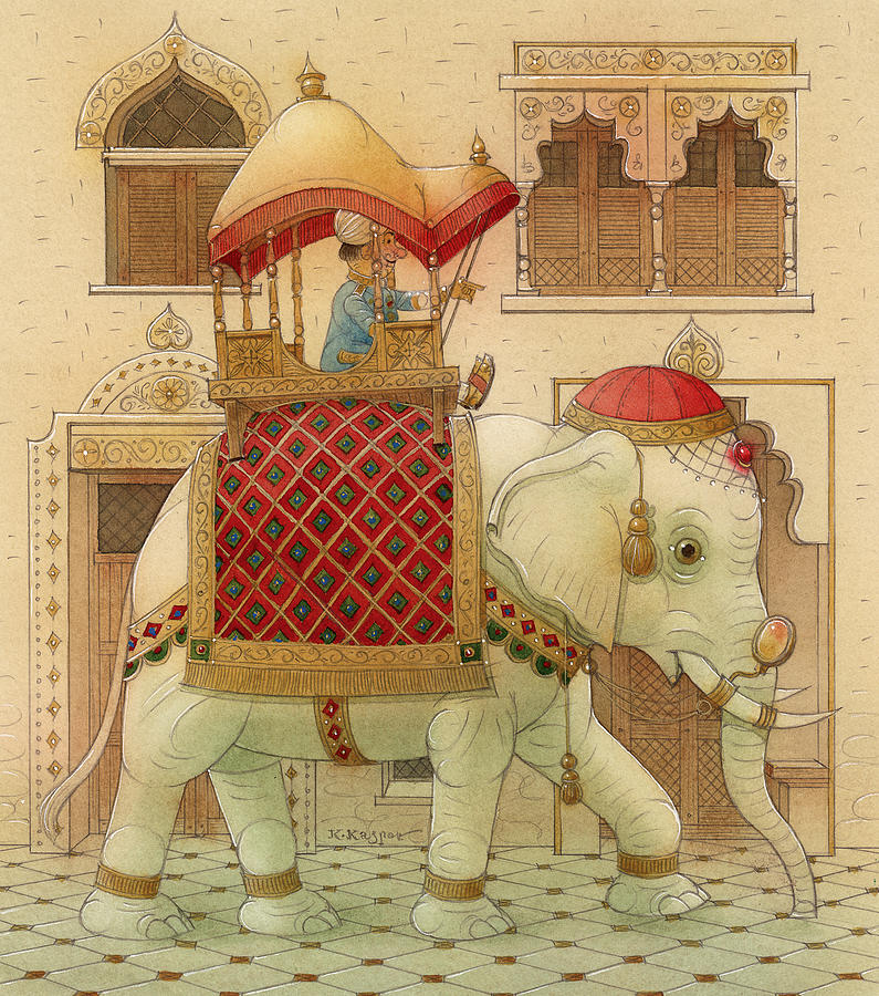 Elephant White Good Luck India King Succes Painting - The White Elephant 01 by Kestutis Kasparavicius