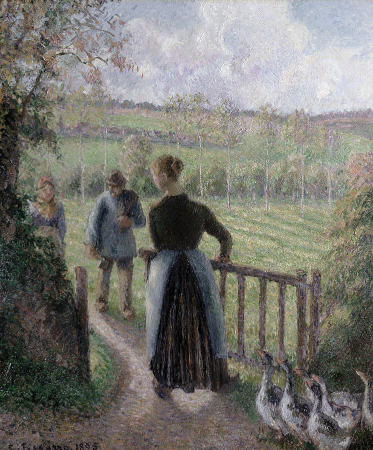 Camille Pissarro Painting - The Woman With The Geese by Camille Pissarro