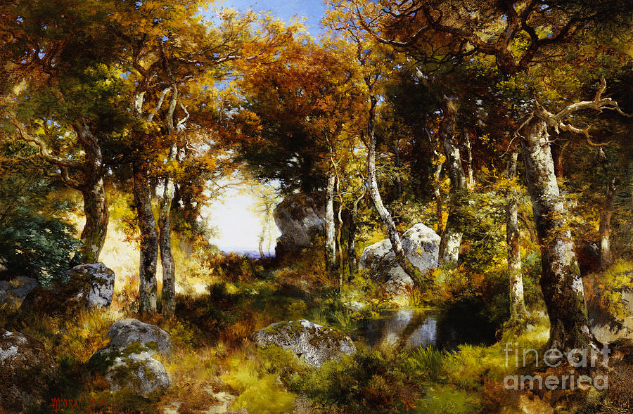 Painting - The Woodland Pool by Thomas Moran