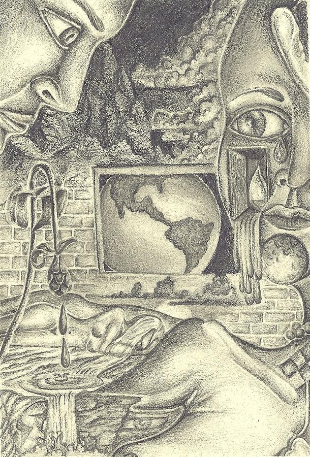 Surreal Drawing - The World Cries by Karen Musick