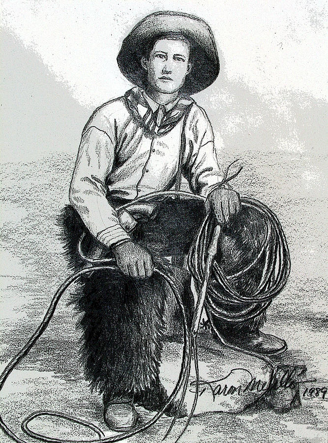 Cowboy Drawing - The Wrangler by Karon Melillo DeVega