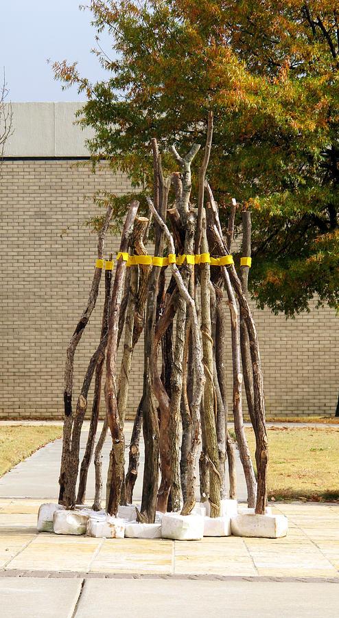 Yellow Ribbon Sculpture - The Yellow Line... Come Back To Me... by Mihaela Nicolcioiu-Savu