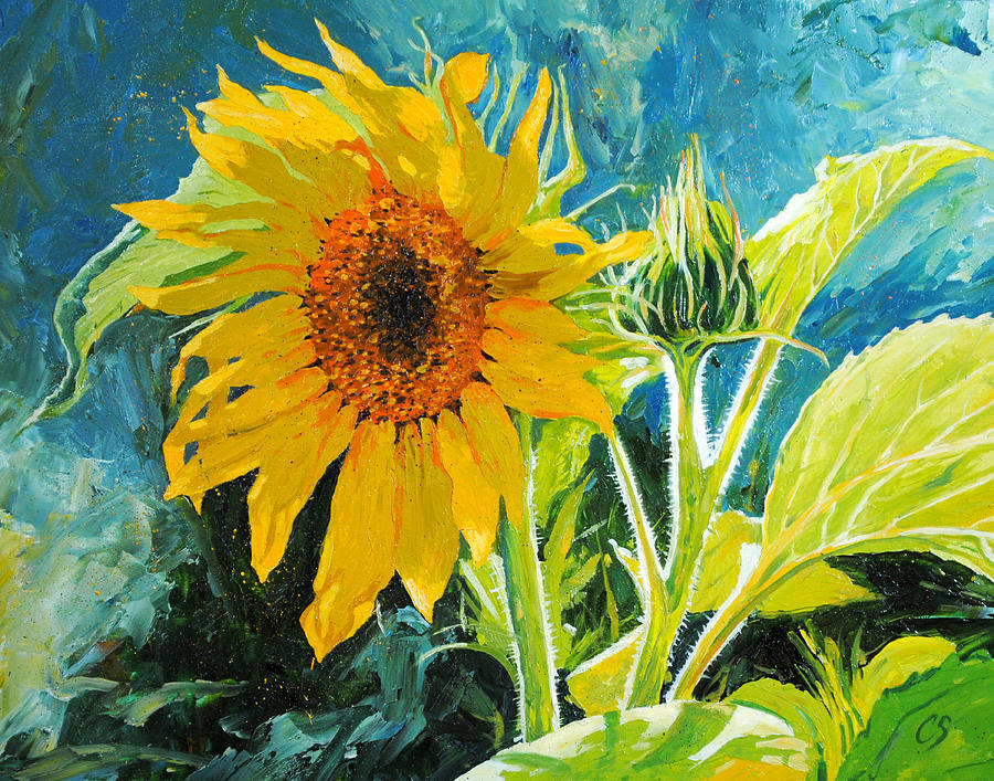 Sunflower Painting - Theres A New Bud In Town by Chris Steinken
