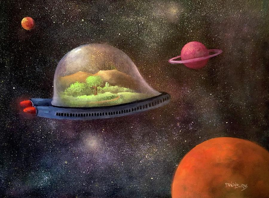 Space Painting - They Took Their World With Them by Randy Burns aka Wiles Henly