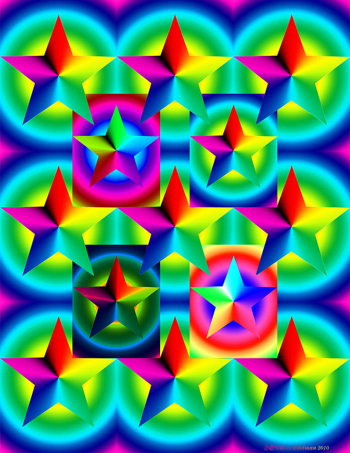 Pentacle Digital Art - Thirteen Stars With Ring Gradients by Eric Edelman