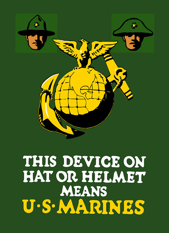 Marines Painting - This Device Means Us Marines  by War Is Hell Store