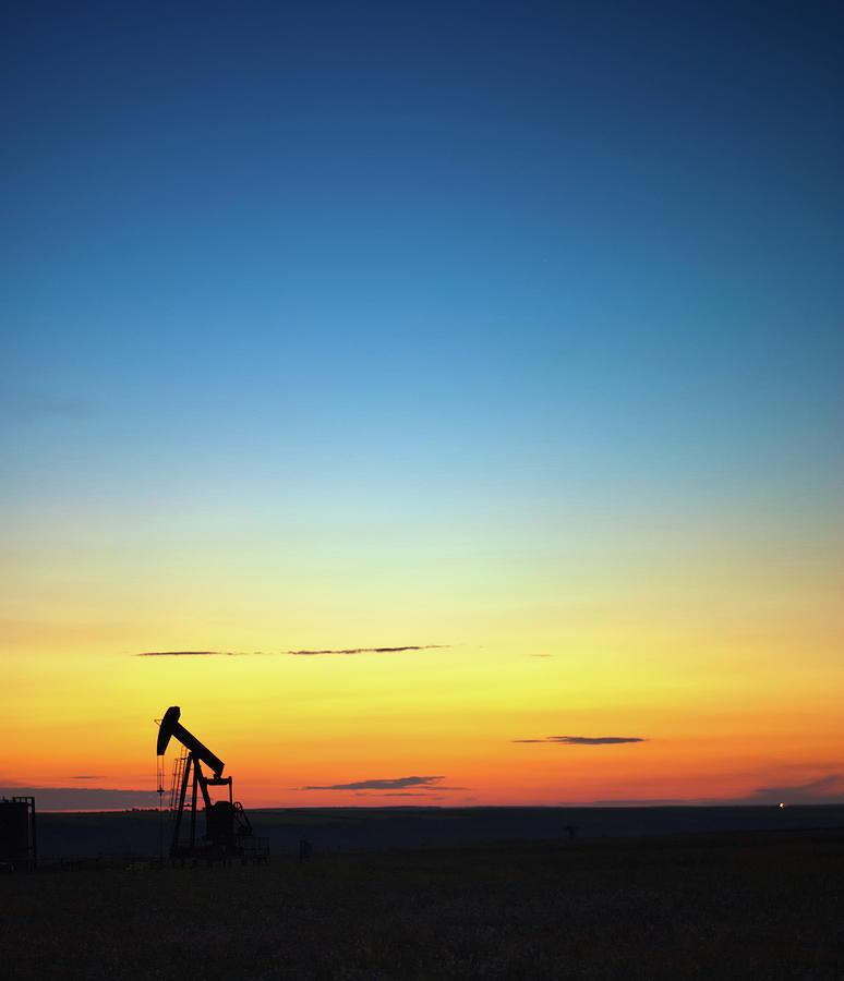 This Is Alberta No.14b - Prairie Oil Sunset Photograph
