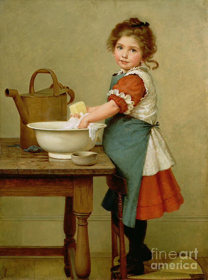 This Is The Way We Wash Our Clothes (oil On Canvas) By George Dunlop Leslie (1835-1921) Learning; Mother; Teaching;child; Washing; Laundry; Girl; Basin; Scrubbing; Chore; Domestic Scene; Soap; Watering Can; Apron; Girl Painting - This Is The Way We Wash Our Clothes  by George Dunlop Leslie