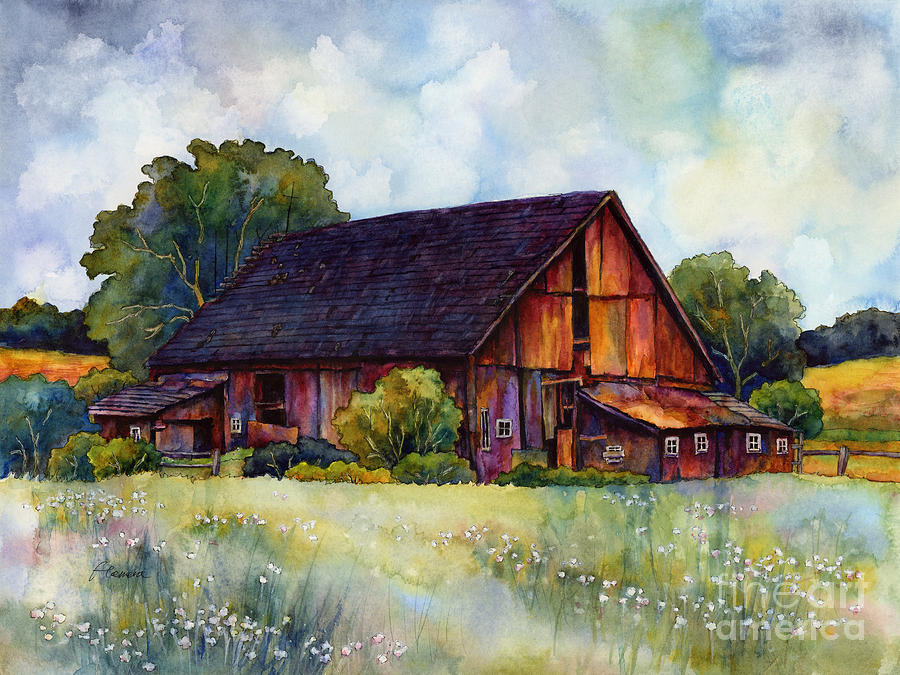 This old barn painting by hailey e herrera for Watercolor barn paintings