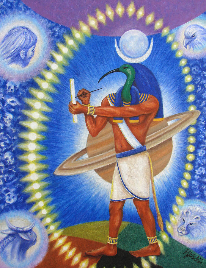 Thoth in the path of tav painting by rebecca steelman for Egyptian fresco mural painting