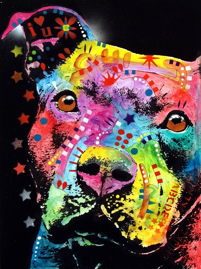 Pit Bull Painting - Thoughtful Pitbull I Heart U by Dean Russo