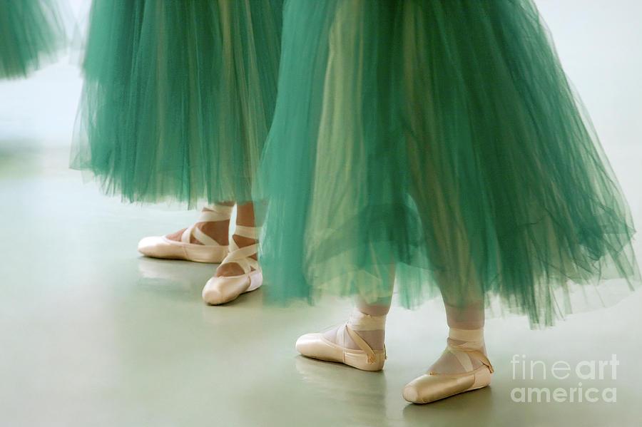 Dance Photograph - Three Ballerinas In Green Tutus by Julia Hiebaum