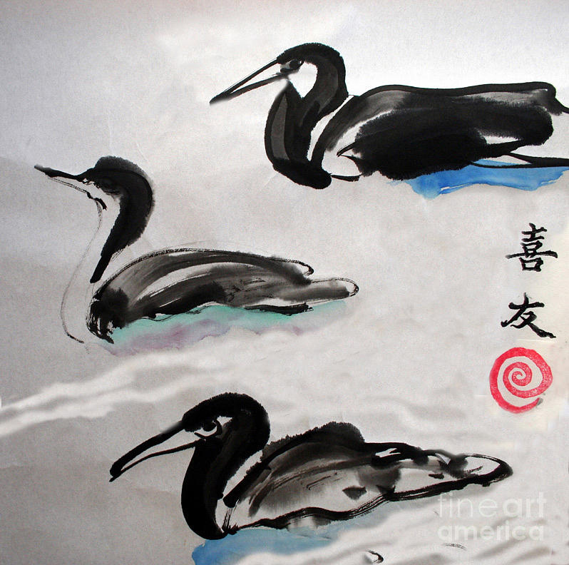 Sumi Ink Painting - Three Ducks by Lisa Baack