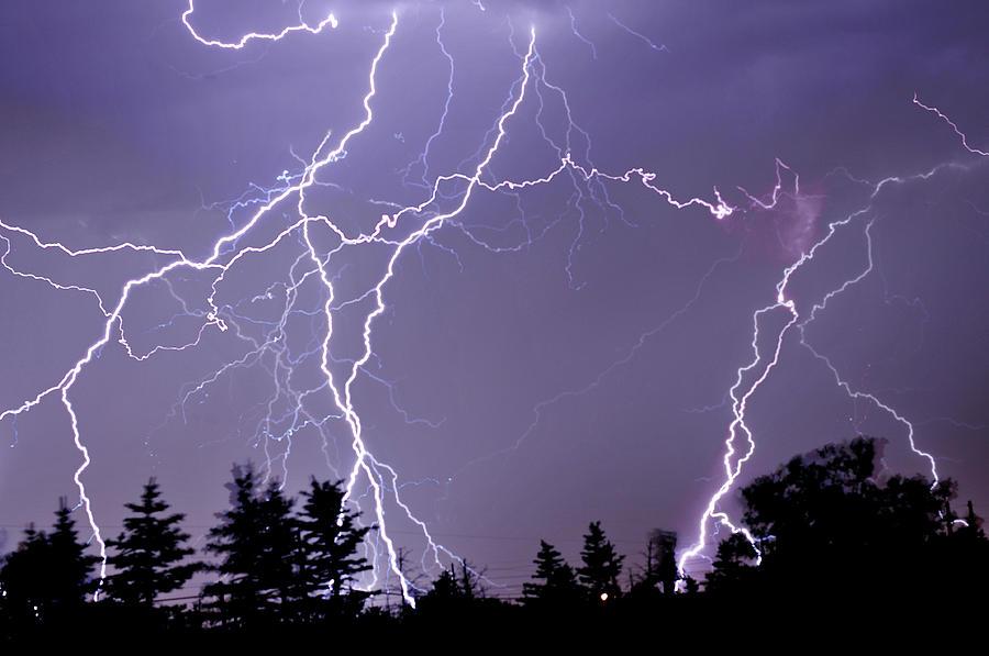 Horizontal Photograph - Three Frames Of Lightning Hitting Cedar Hills Area by Utah-based Photographer Ryan Houston