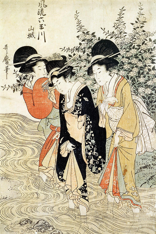 Three Girls Paddling In A River Painting - Three Girls Paddling In A River by Kitagawa Utamaro