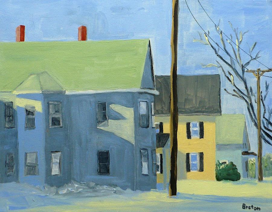 Landscape Painting - Three Houses Auburn by Laurie Breton