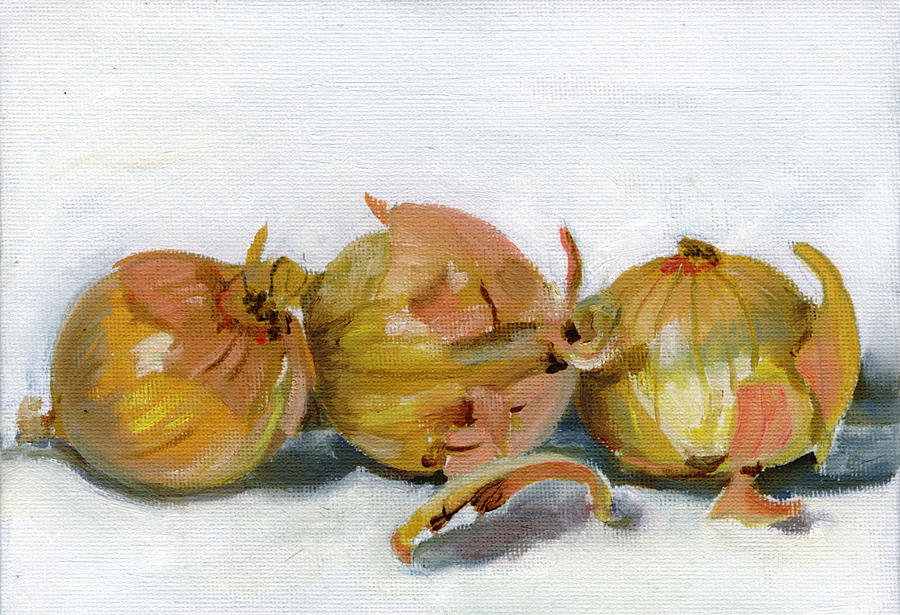 Food Painting - Three Onions by Sarah Lynch