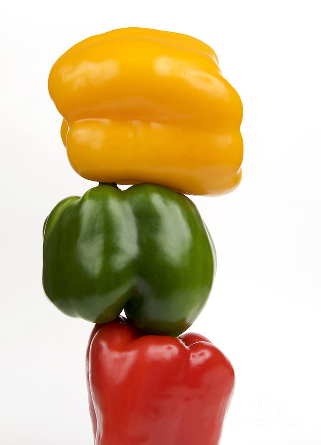 Texture Photograph - Three Peppers by Bernard Jaubert