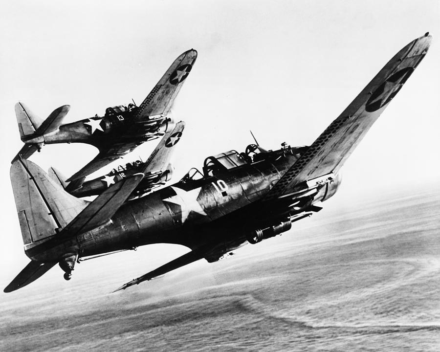 History Photograph - Three U.s. Navy Dauntless Dive Bombers by Everett