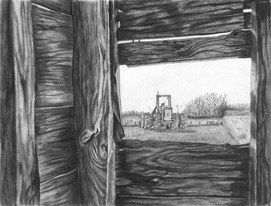 Barn Drawing - Through The Barn by Dean Herbert