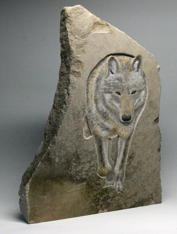 Limestone Sculpture - Through The Mist by Ken Hall