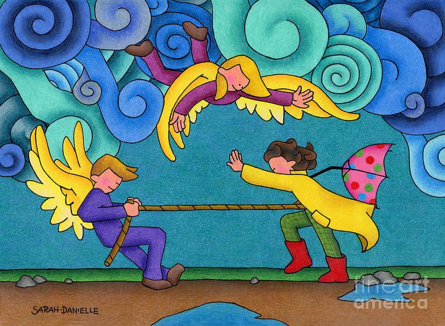 Angels Drawing - Through The Storm by Sarah Batalka