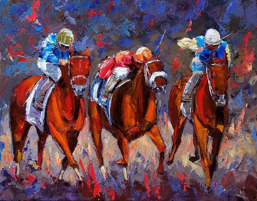 Horse Race Painting - Thunder by Debra Hurd