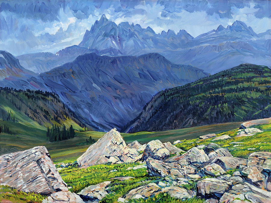 Wyoming Landscape Painting - Thunderheads At Fox Creek Pass by Steve Spencer